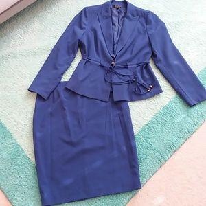 NWT Signature Royal Blue Skirt Suit Sz 14